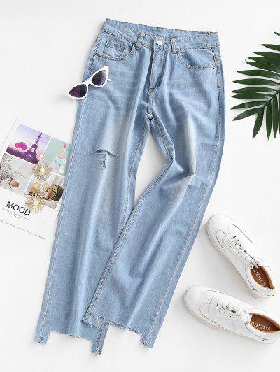 Ripped Raw Hem Straight Jeans - Light Blue M
