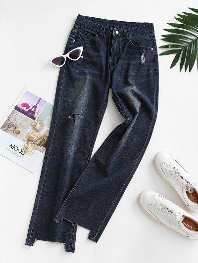 Ripped Raw Hem Straight Jeans - Deep Blue M