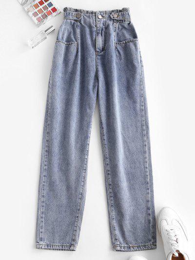 Calças De Cintura Alta Cônicas Com Bolsos - Azul S