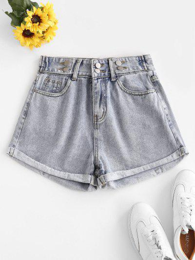 High Waist Cuffed Denim Shorts - Light Blue L