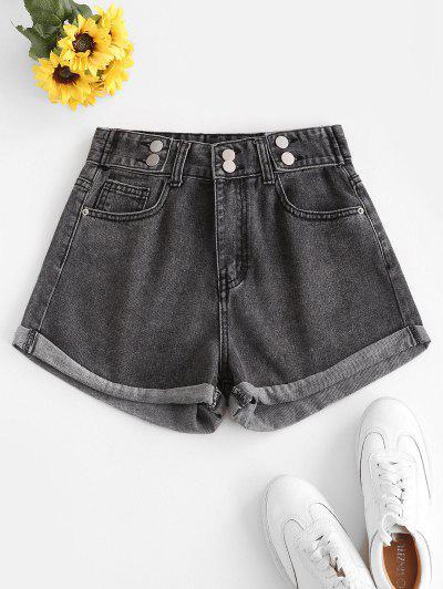 High Waist Cuffed Denim Shorts - Gray M