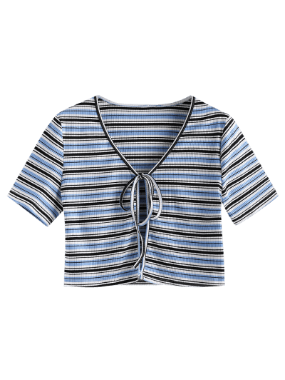 ZAFUL Striped Ribbed Tie Front Crop T-shirt
