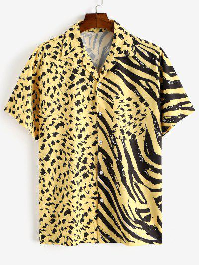 Casual Spliced Printed Button Shirt - Yellow Xl
