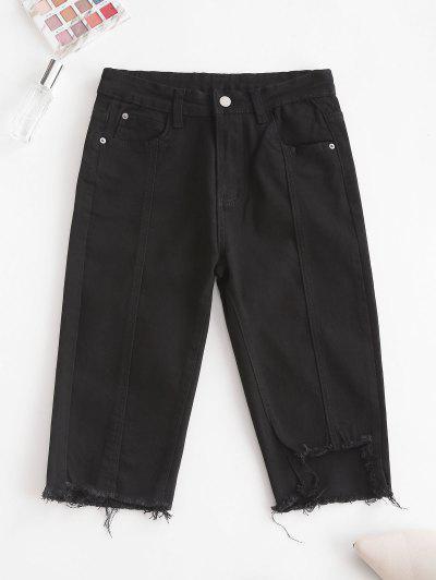 Y2K Uneven Hem Capri Jeans - Black M