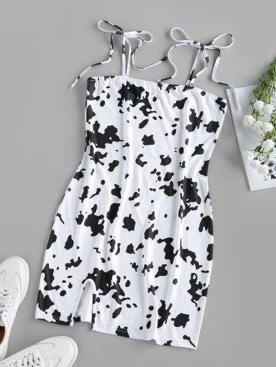 ZAFUL Mini-Robe Vache Imprimée Fendue à Epaule Nouée - Blanc S