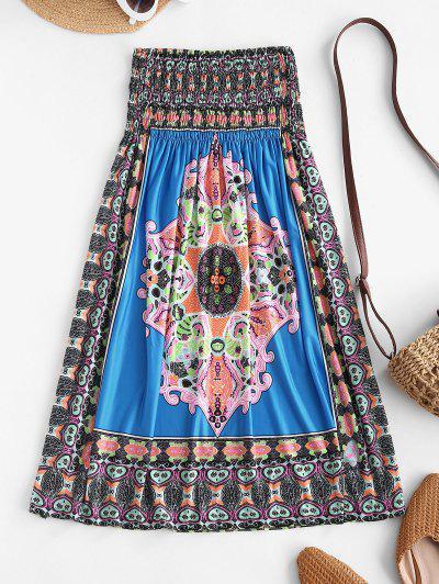 Smocked Tribal Print Strapless Mini Dress - Blue