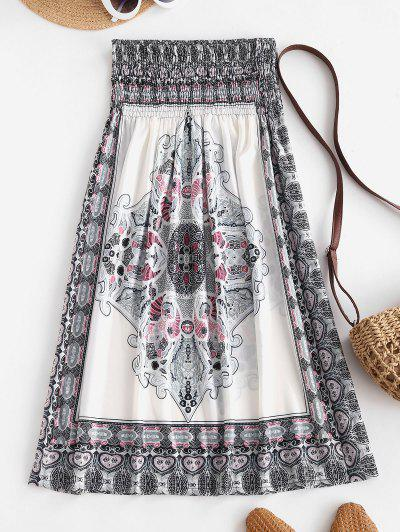 Smocked Tribal Print Strapless Mini Dress - White