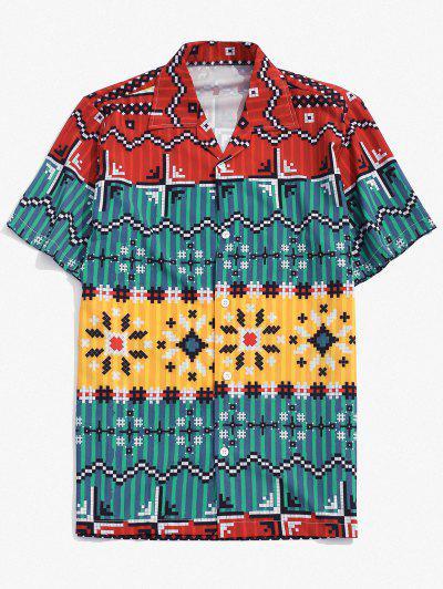 Contrast Geometric Pattern Button Down Shirt - Blueberry Blue 2xl