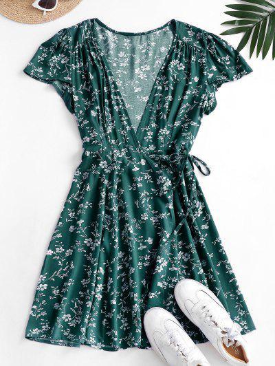 Mini Robe Enveloppée Fleurie - Vert Profond M
