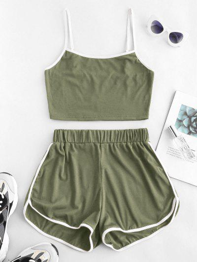 ZAFUL Ringer Sporty Cami Top And Dolphin Shorts Set - Deep Green S