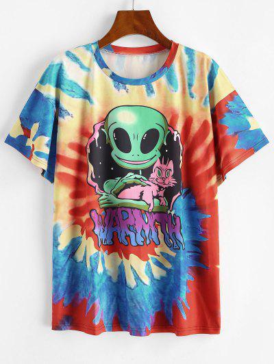 T-shirt Teinté Imprimé En Spirale à Manches Courtes - Bleu L