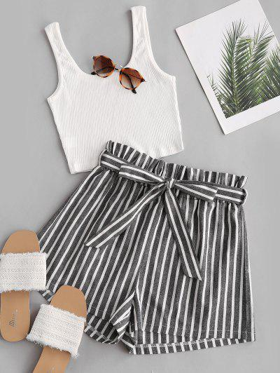 Ribbed Tank Top And Striped Print Paperbag Shorts Set - White Xl