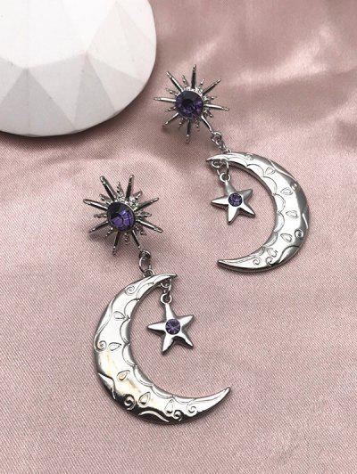 Rhinestone Sun Moon Star Shape Drop Earrings - Silver
