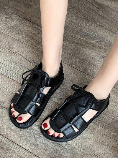 Pure Color Casual Lace Up Sandals - Black Eu 39