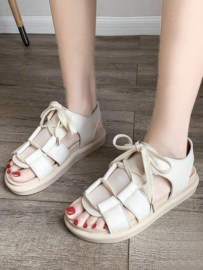 Pure Color Casual Lace Up Sandals - Beige Eu 39
