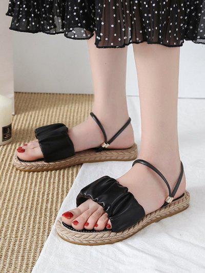 Ruched Leather Convertible Strap Flat Sandals - Black Eu 39