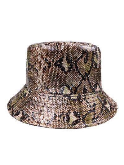 PU Snakeskin Pattern Bucket Hat - Coffee