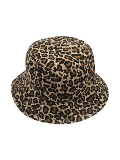Reversible Leopard Printed Bucket Hat - Coffee