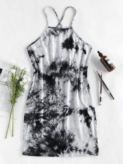 ZAFUL Lace Up Tie Dye Mini Tight Dress - Black M