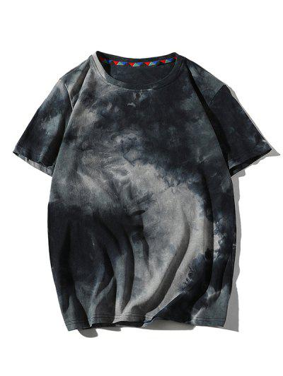 Tie Dye Printed Short Sleeves T-shirt - Cadetblue S