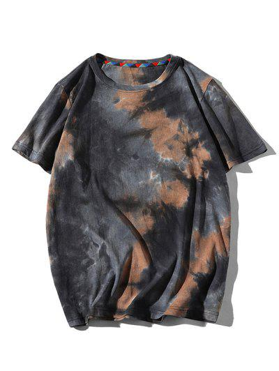 Tie Dye Printed Short Sleeves T-shirt - Brown Sugar Xl
