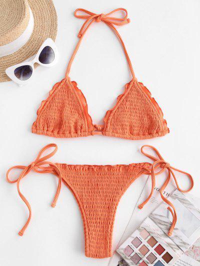 Frilled Ribbed Smocked Bikini Swimwear