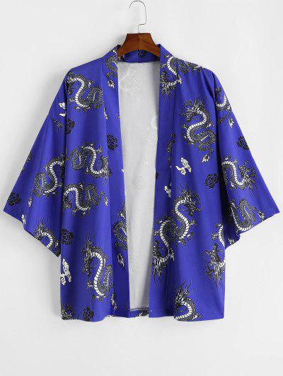 Dragon Flower Print Open Front Kimono Cardigan - Cobalt Blue M