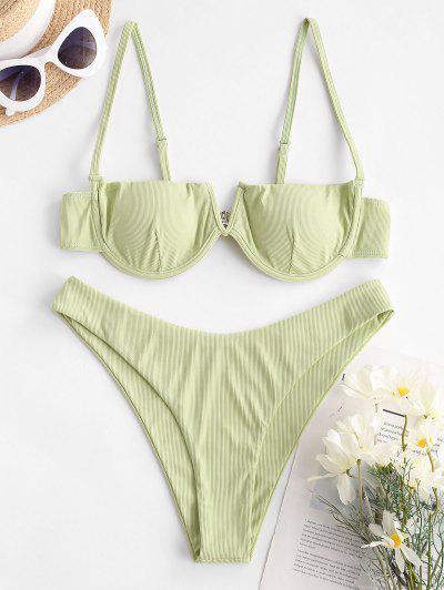 ZAFUL Entdeckte Bikini Badebekleidung Mit Hübschem Blick Und Rippen - Hellgrün M