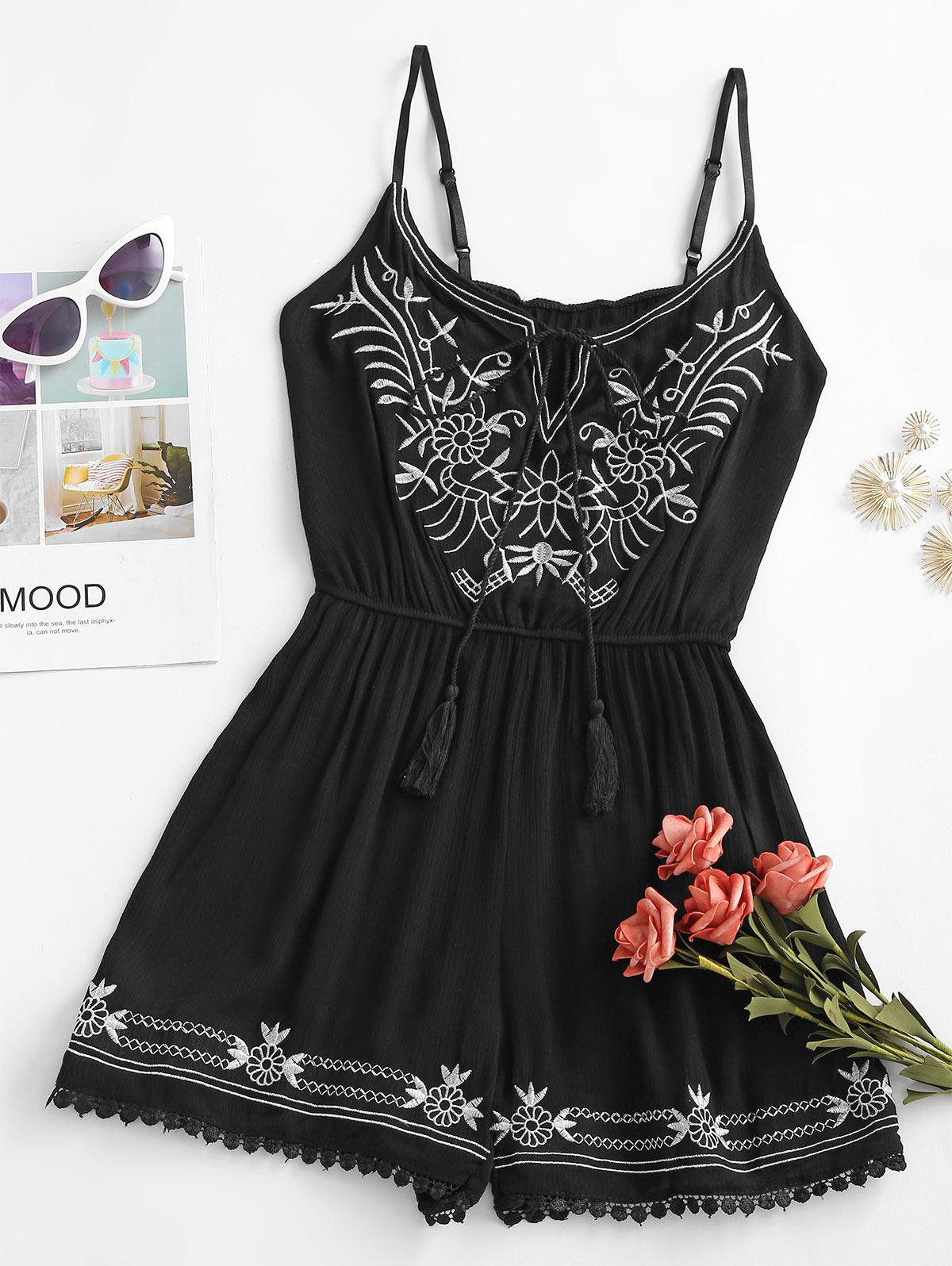 Ethinc Embroidery Tie Tassels Cami Romper