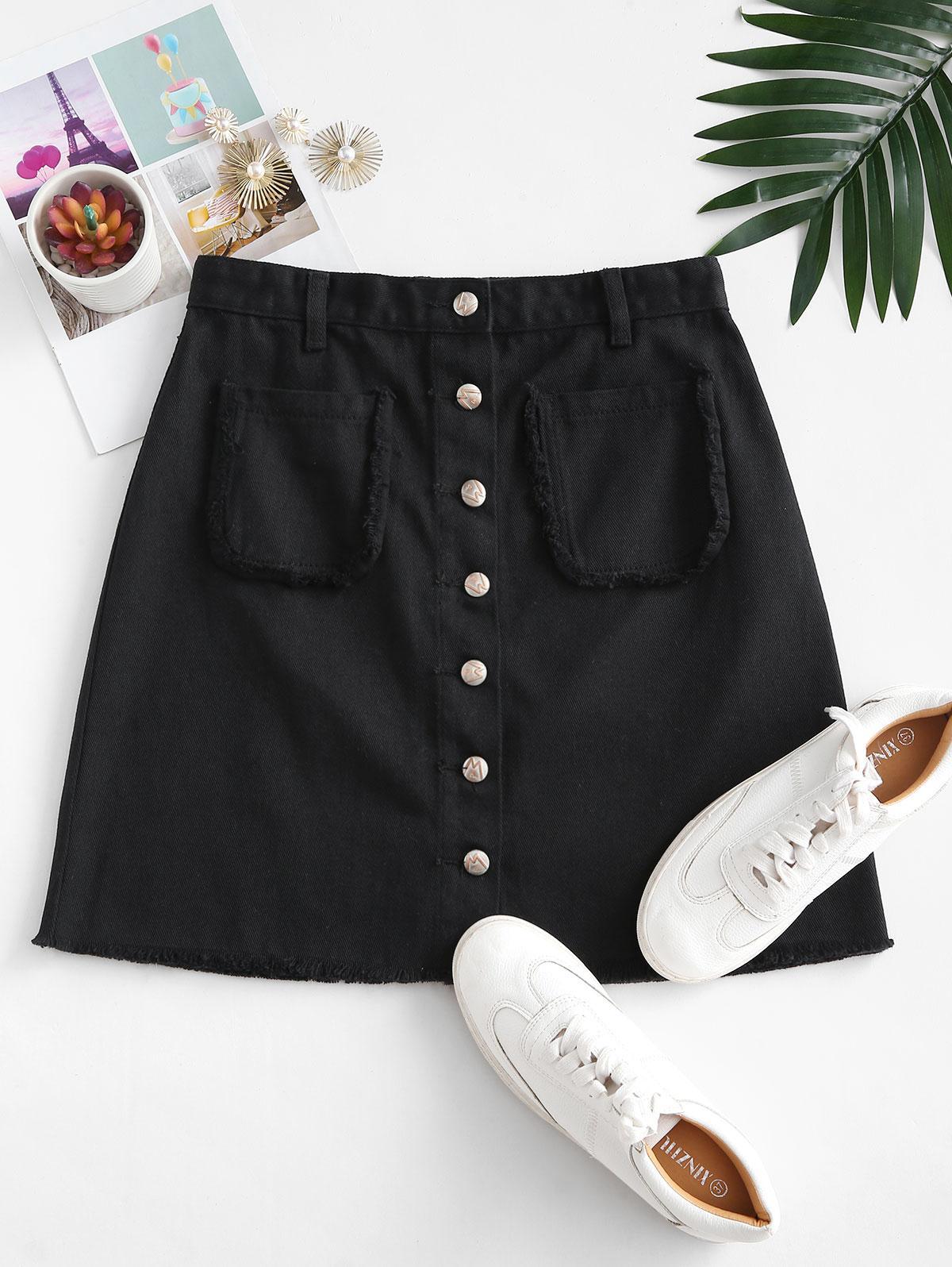 Button Up Frayed Hem Denim Skirt