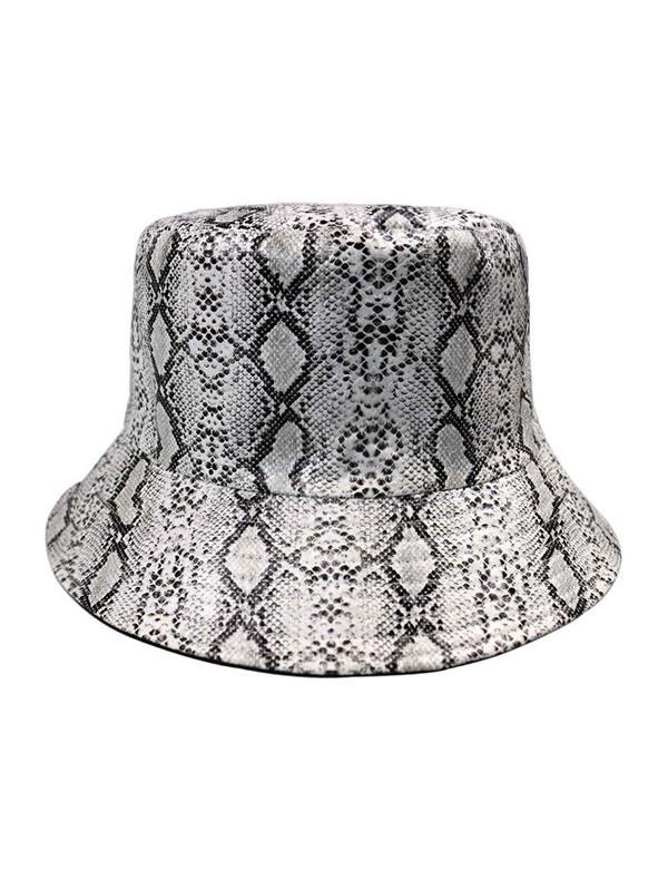PU Snakeskin Pattern Bucket Hat