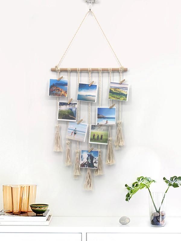 Home Decor Tasseled Macrame Wall Hanging Photo Holder with Clips