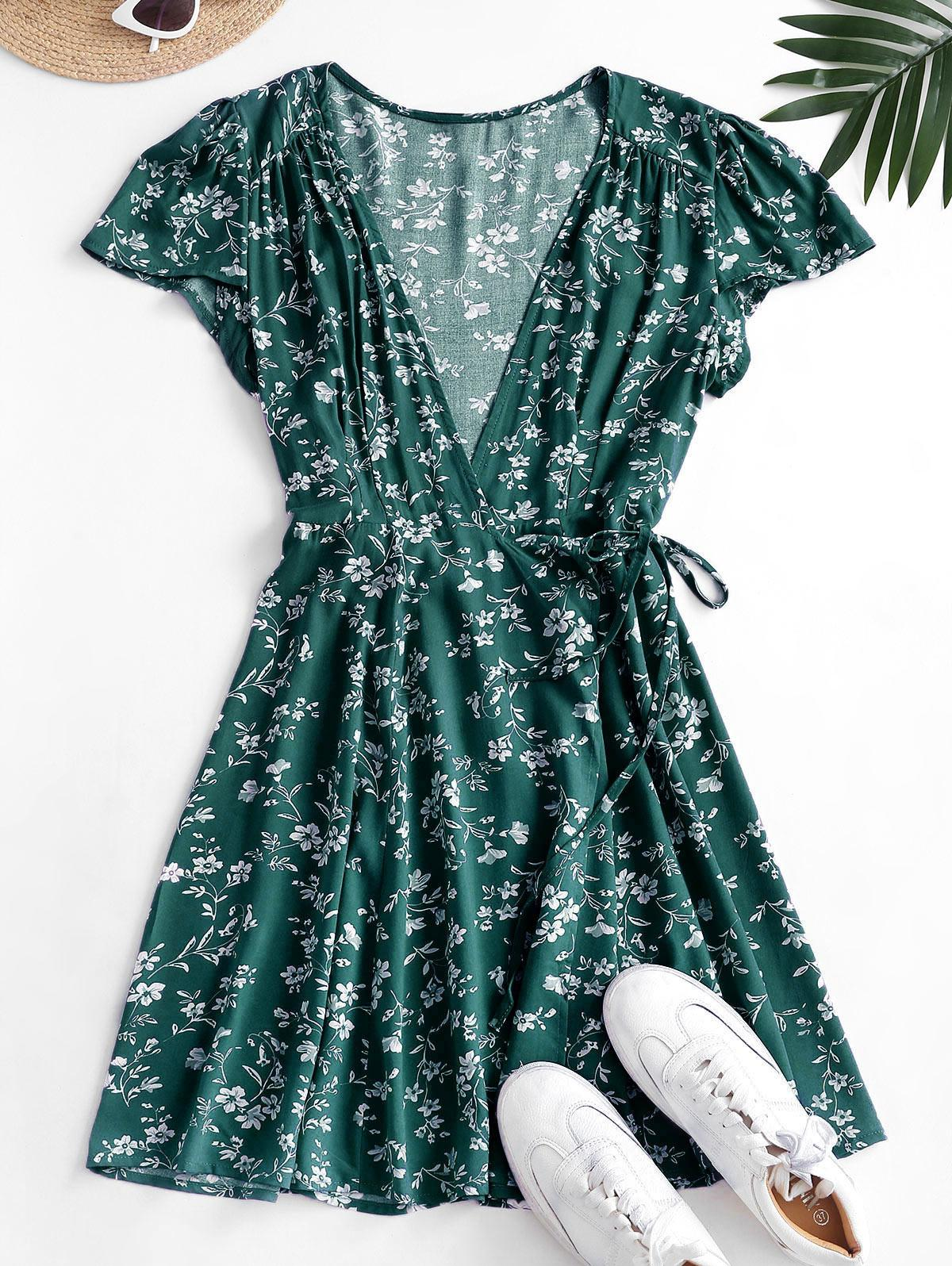Ditsy Floral Mini Wrap Dress