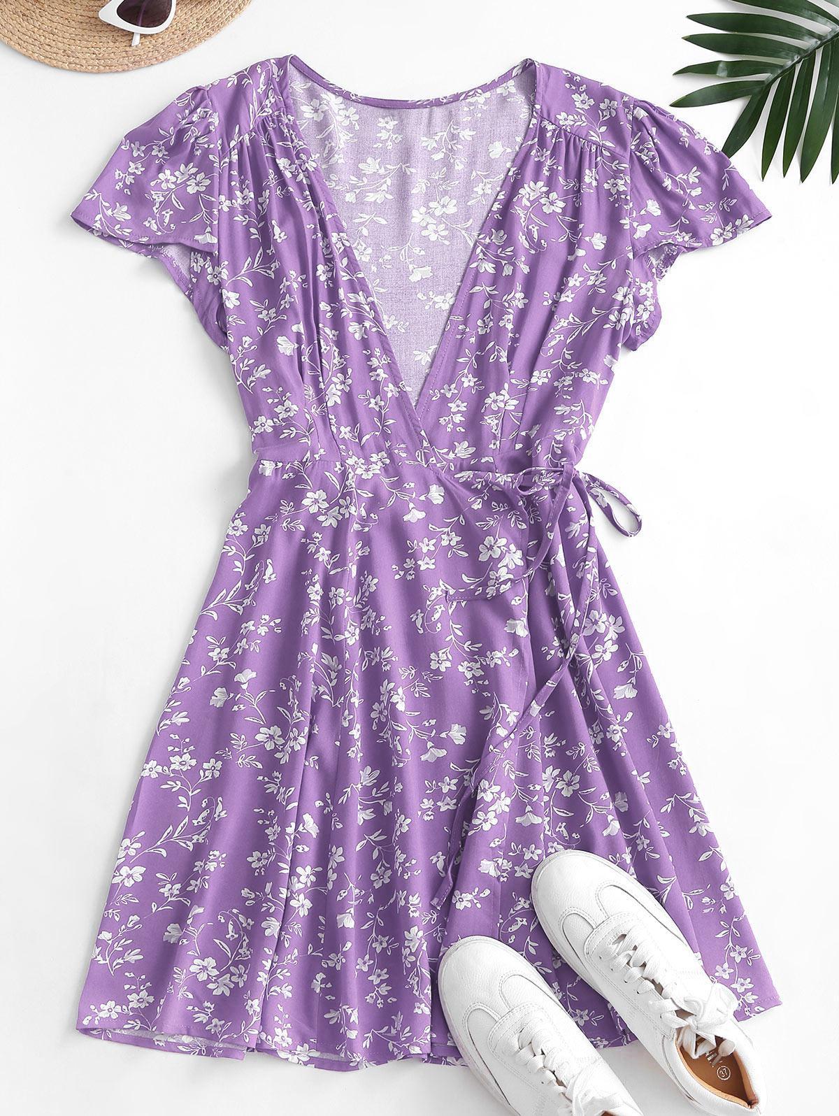 Ditsy Floral Mini Wrap Dress