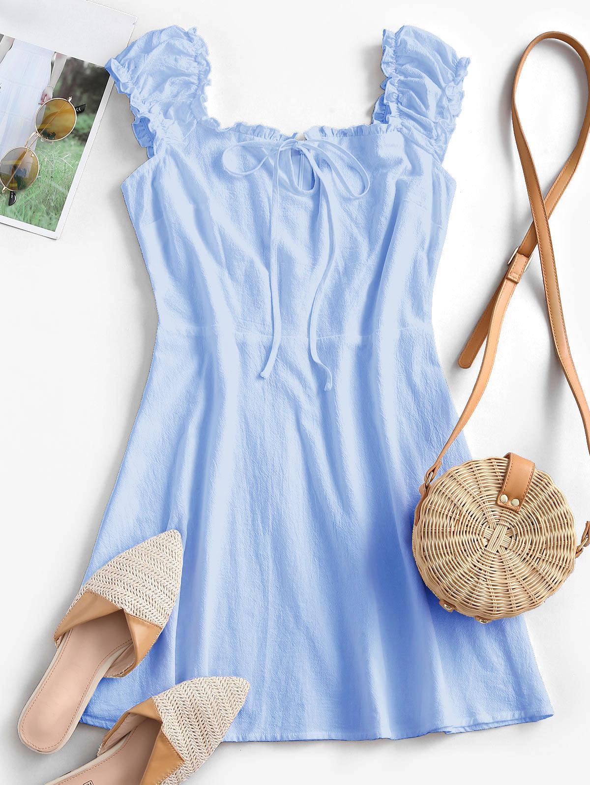 ZAFUL Frilled Tie A Line Short Dress