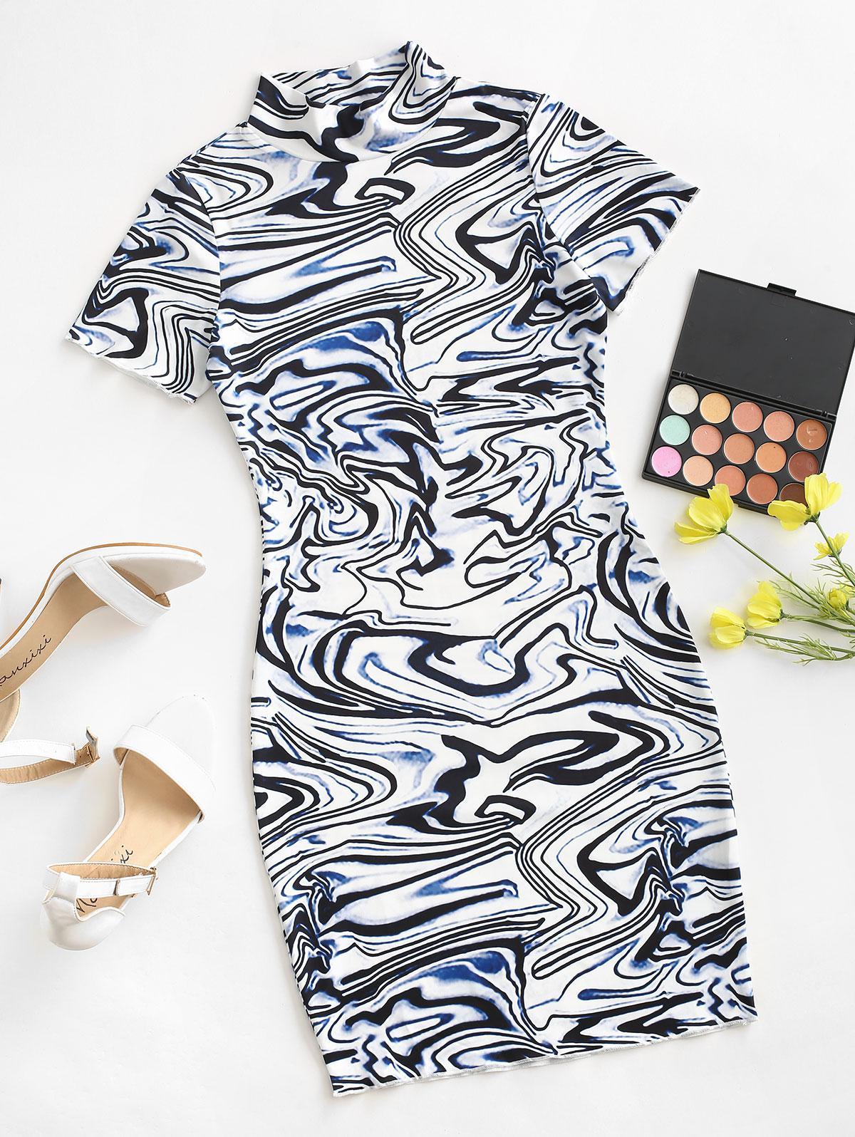 Twirled Printed Mock Neck Bodycon Dress