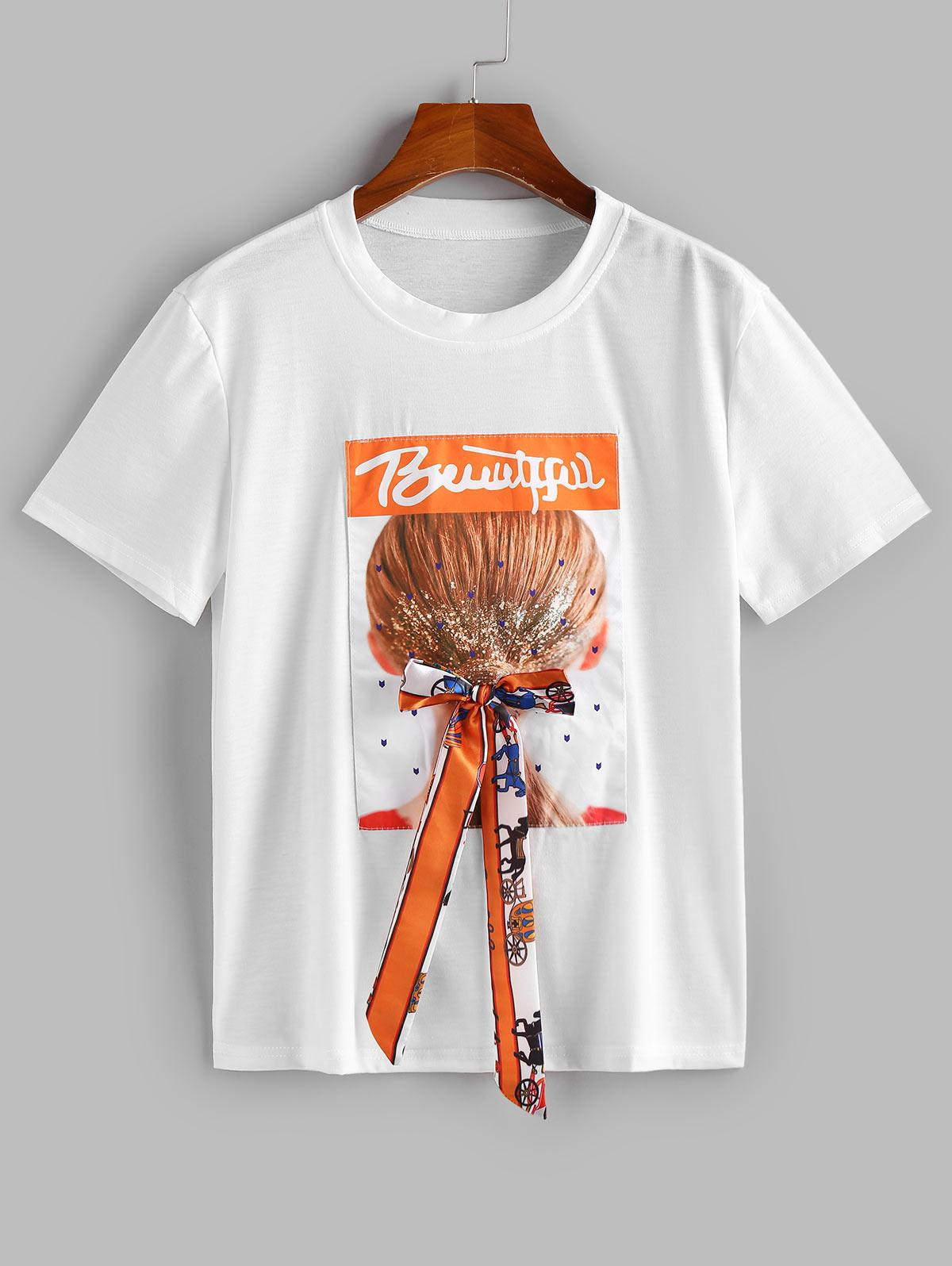 Graphic Figure Letter Print Bowknot Tee
