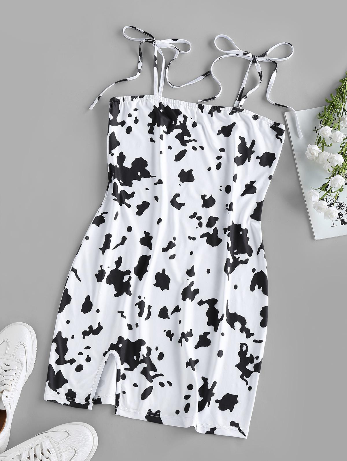 ZAFUL Cow Print Slit Tie Shoulder Mini Dress