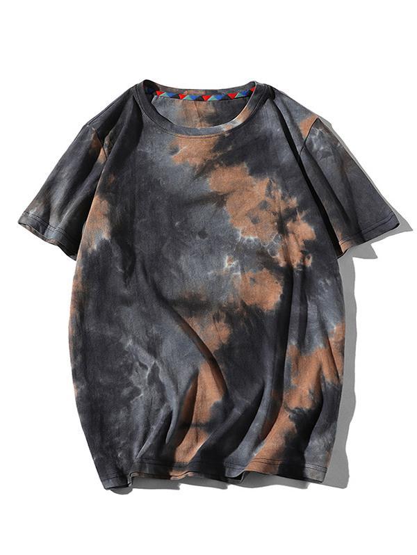 Tie Dye Printed Short Sleeves T-shirt, Brown sugar