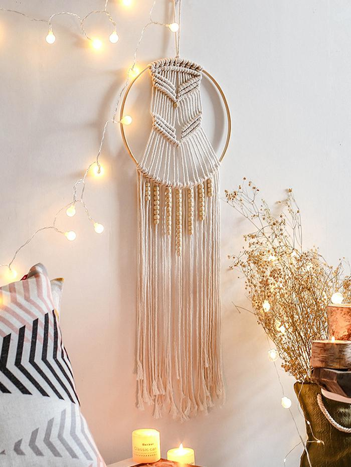 Home Decor Circle Beaded Macrame Wall Hanging