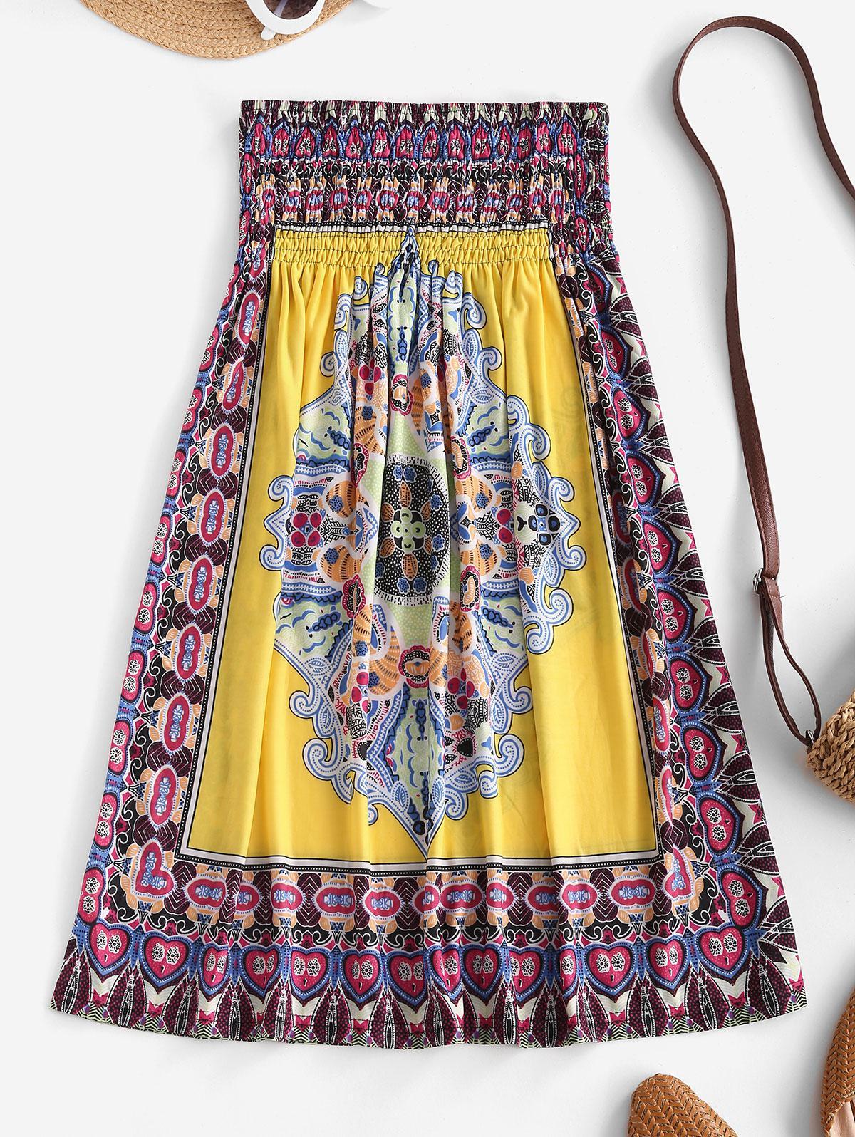 Smocked Tribal Print Strapless Mini Dress