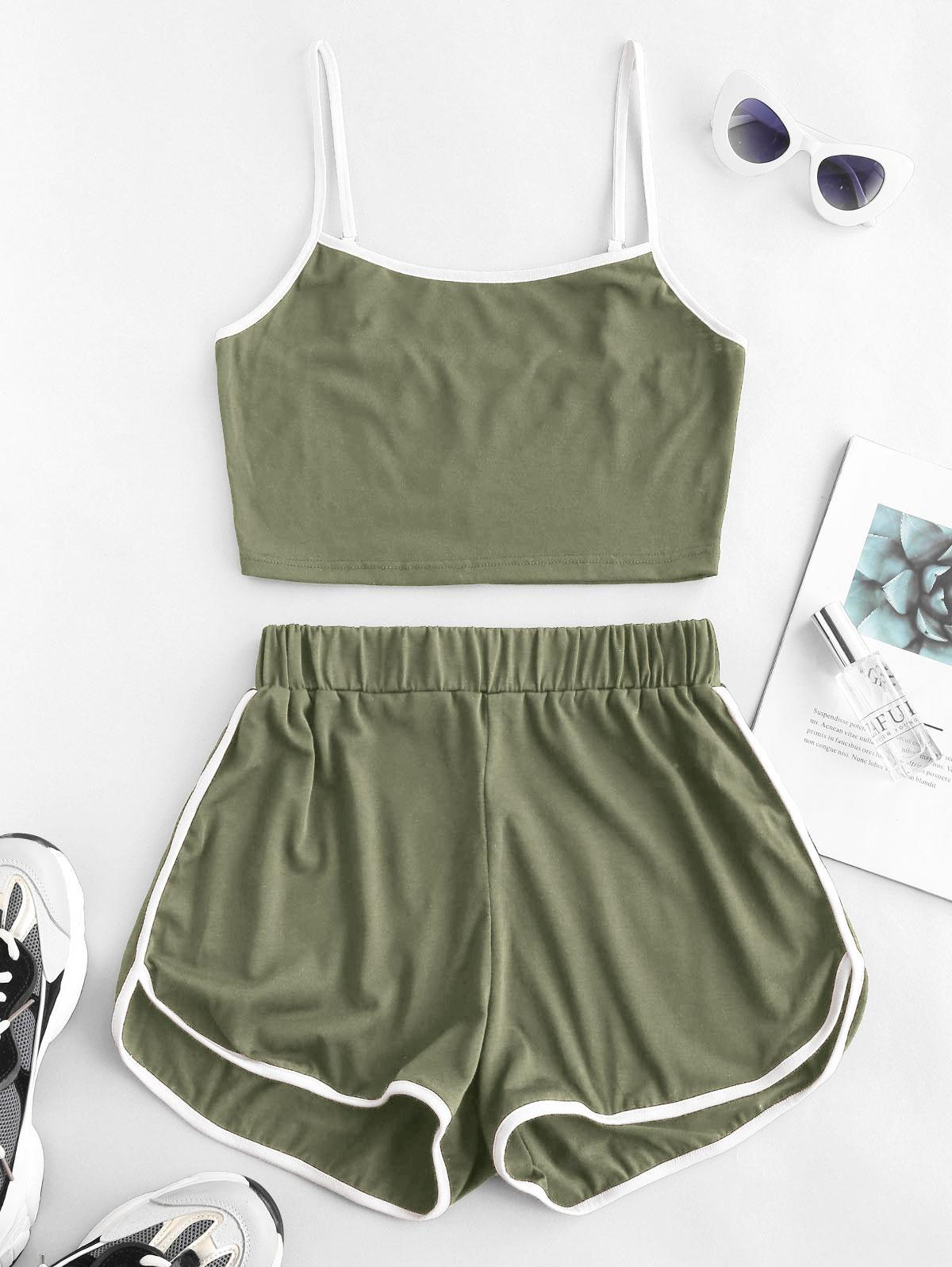 ZAFUL Ringer Sporty Cami Top And Dolphin Shorts Set
