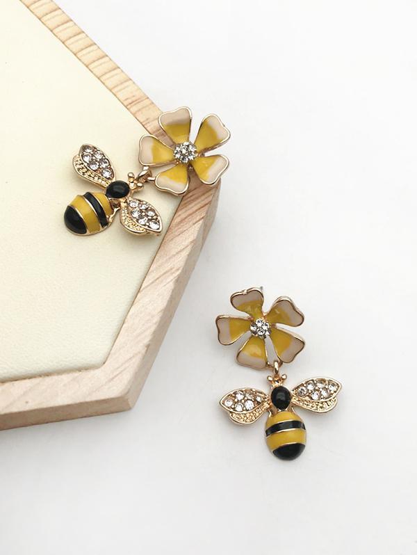 Rhinestone Flower Bee Shape Drop Earrings