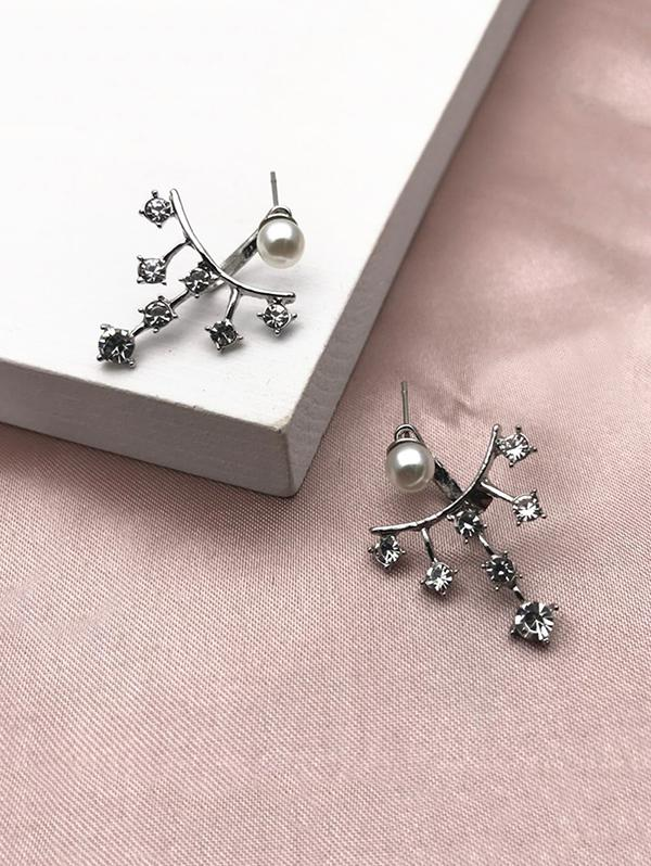 Faux Pearl Rhinestone Branch Shape Jacket Earrings