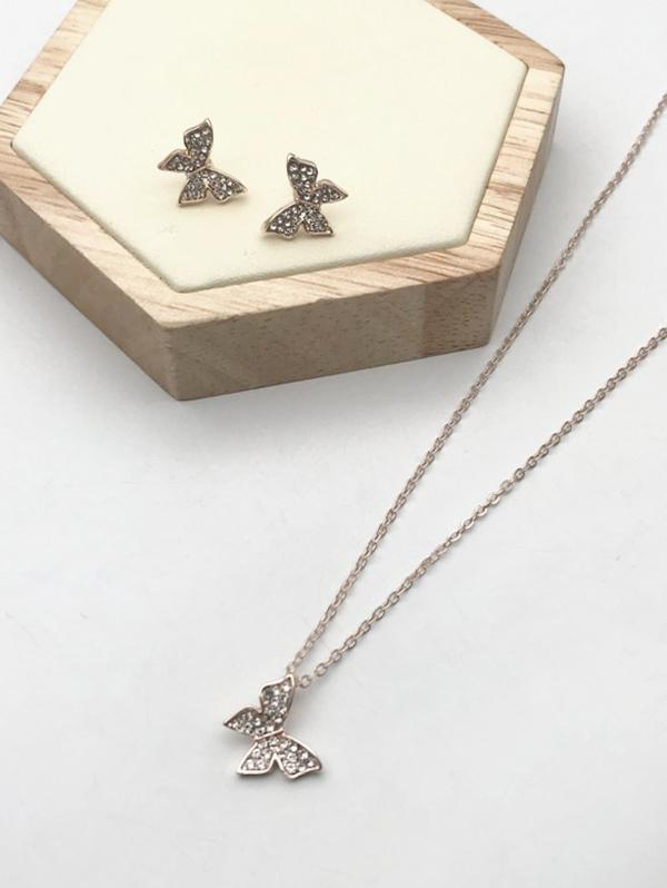 Rhinestone Butterfly Stud Earrings And Pendant Necklace Set