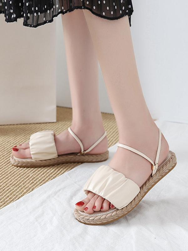Ruched Leather Convertible Strap Flat Sandals