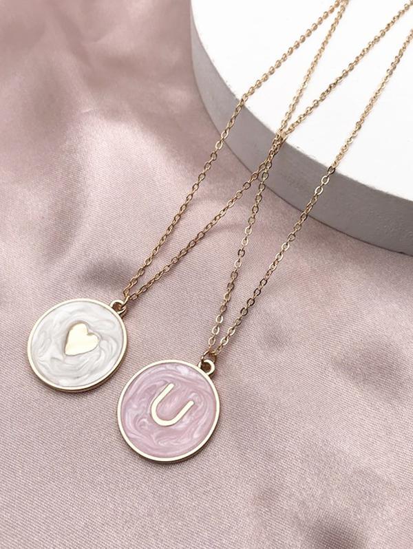 Heart U Pattern Disc Pendant Necklaces
