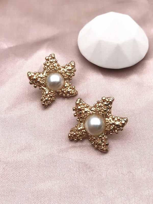Faux Pearl Starfish Shape Studded Earrings