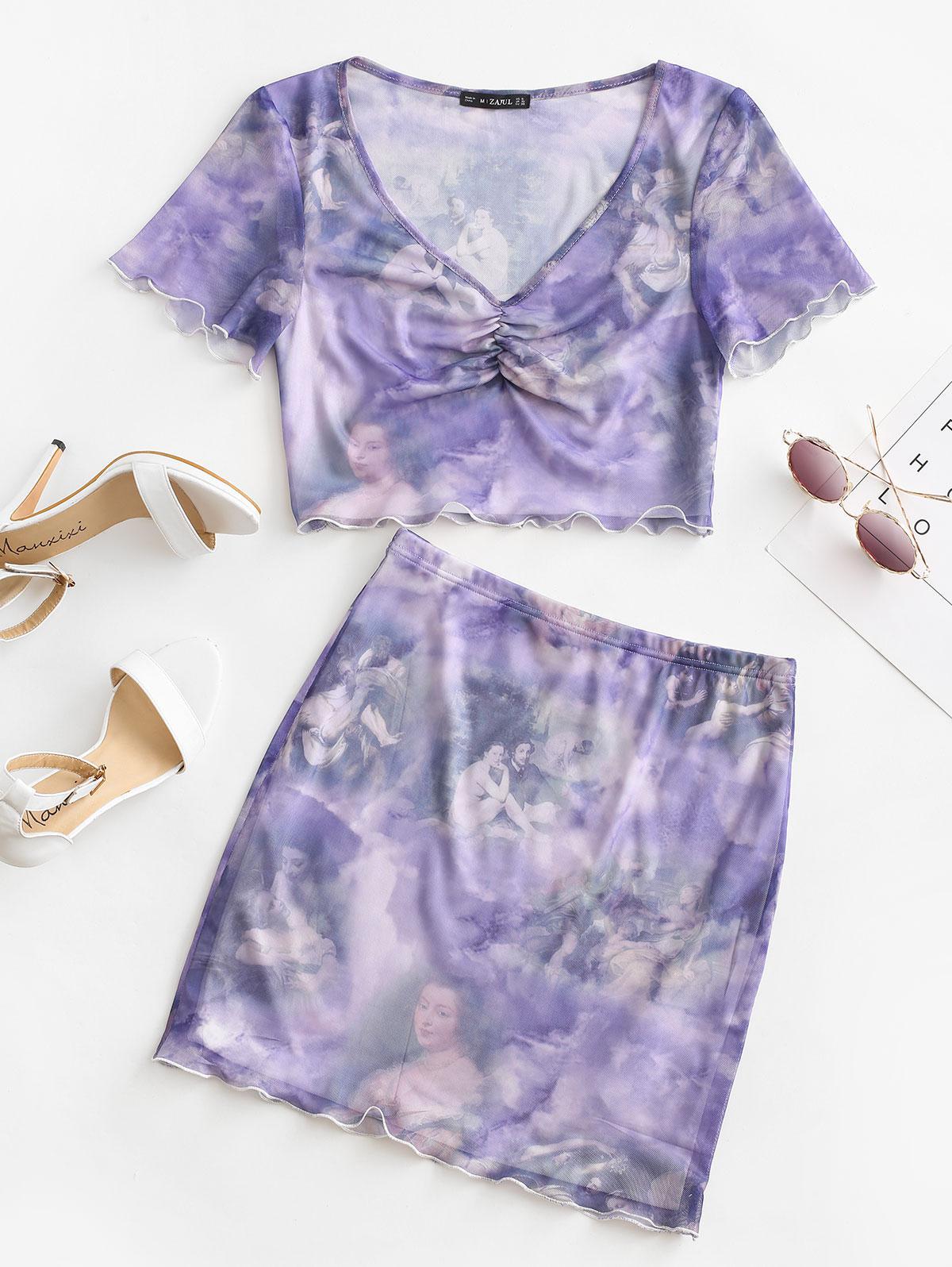 ZAFUL Mesh Ruched Renaissance Print Bodycon Skirt Set
