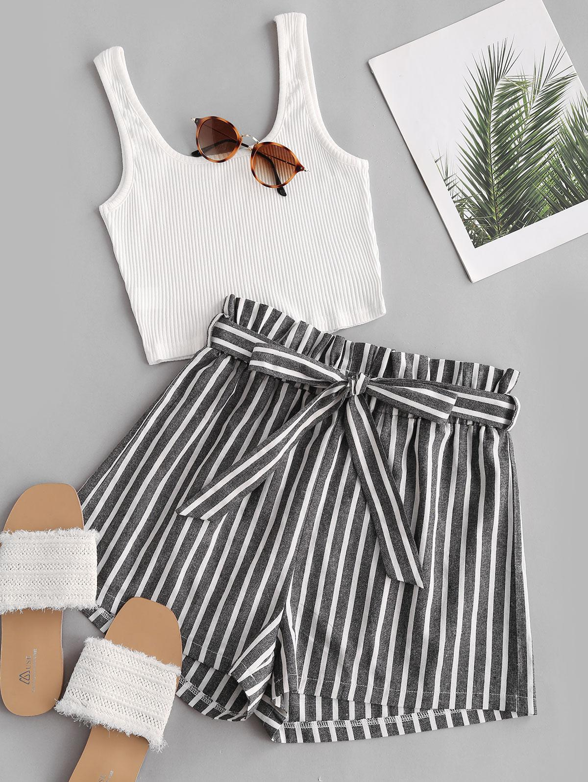 Ribbed Tank Top and Striped Print Paperbag Shorts Set